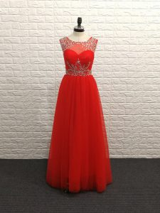 Free and Easy Sleeveless Beading Backless Prom Evening Gown