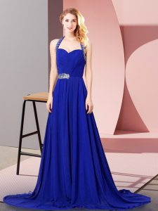 Inexpensive Zipper Evening Dress Royal Blue for Prom and Party and Military Ball with Beading and Ruching