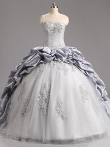 Pretty Sweetheart Sleeveless Quinceanera Gowns Brush Train Beading and Appliques and Pick Ups Silver Taffeta and Tulle