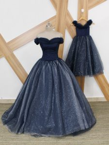 Elegant Tulle Off The Shoulder Sleeveless Brush Train Lace Up Ruching Dress for Prom in Navy Blue