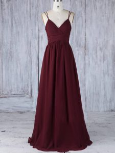 Wonderful Burgundy Empire Straps Sleeveless Chiffon Floor Length Zipper Appliques Quinceanera Court Dresses