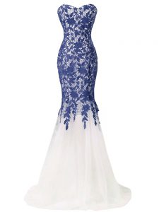 Blue And White Sleeveless Lace and Appliques Lace Up Prom Evening Gown