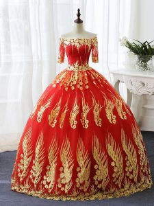 Off The Shoulder Half Sleeves Vestidos de Quinceanera Floor Length Appliques Red Printed