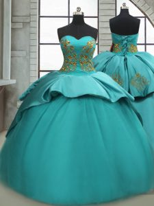 Amazing Turquoise Satin Lace Up Sweetheart Sleeveless Quinceanera Gowns Sweep Train Beading and Appliques