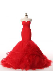 Dynamic Red Zipper Sweetheart Ruffles Dress for Prom Tulle Sleeveless Brush Train