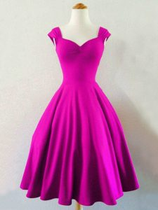 Fuchsia Straps Lace Up Ruching Quinceanera Court of Honor Dress Sleeveless