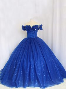 Off The Shoulder Cap Sleeves Sweet 16 Dresses Floor Length Hand Made Flower Royal Blue Tulle