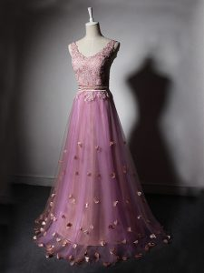 Eye-catching Sweep Train A-line Homecoming Dress Lilac V-neck Tulle Sleeveless Lace Up