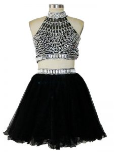 Black Tulle Criss Cross Halter Top Sleeveless Mini Length Evening Dress Beading