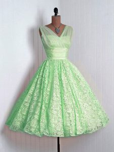 Beauteous Lace Sleeveless Mini Length Quinceanera Court Dresses and Lace