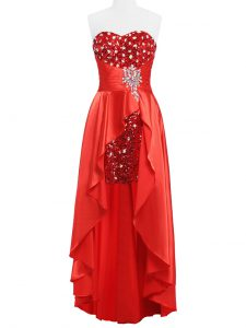 Superior Coral Red Empire Beading and Ruching Prom Dress Zipper Elastic Woven Satin Sleeveless Floor Length