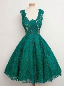Sumptuous Dark Green Sleeveless Lace Knee Length Quinceanera Court Dresses