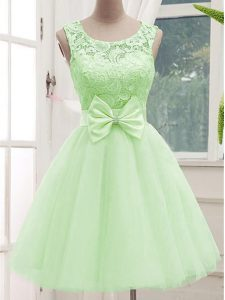 Beauteous Sleeveless Lace Up Knee Length Lace and Bowknot Court Dresses for Sweet 16