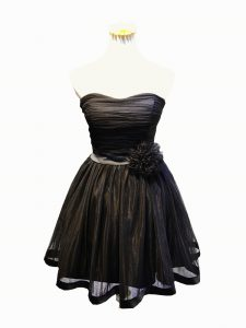 Black Sleeveless Ruching and Bowknot and Hand Made Flower Mini Length