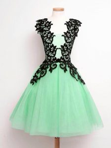 Adorable Lace Quinceanera Dama Dress Apple Green Lace Up Sleeveless Knee Length
