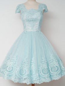 Most Popular Aqua Blue Zipper Square Lace Vestidos de Damas Tulle Cap Sleeves