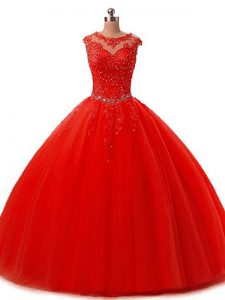 Floor Length Lace Up Quince Ball Gowns Red for Military Ball and Sweet 16 and Quinceanera with Beading and Lace