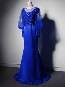 Comfortable Royal Blue Clasp Handle Scoop Beading and Lace and Appliques Prom Dresses Elastic Woven Satin Long Sleeves Brush Train