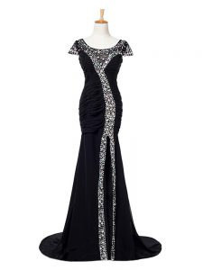 Zipper Evening Dress Black for Prom and Military Ball and Sweet 16 with Beading and Ruching Brush Train