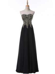 Pretty Chiffon Sleeveless Floor Length Homecoming Dress and Beading and Appliques