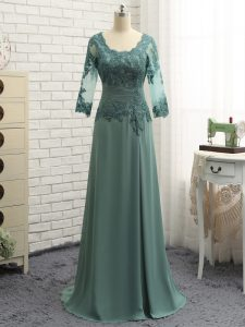 Top Selling Floor Length Green Prom Party Dress Chiffon Long Sleeves Beading and Lace and Appliques