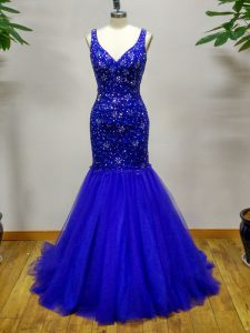 Exquisite Royal Blue Prom Gown For with Beading Straps Sleeveless Brush Train Criss Cross