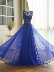 Colorful Royal Blue Sleeveless Appliques Floor Length Prom Evening Gown