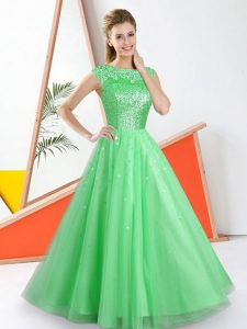 Superior Sleeveless Floor Length Beading and Lace Backless Dama Dress with Green