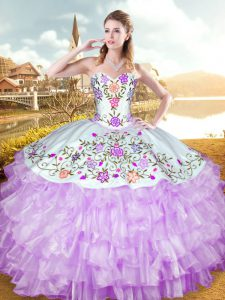 Customized Sweetheart Sleeveless Lace Up Vestidos de Quinceanera Lilac Organza and Taffeta
