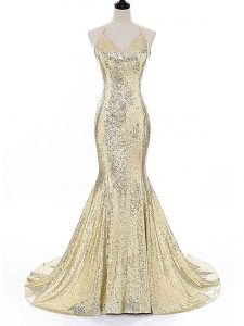 Pretty Sequined Straps Sleeveless Brush Train Backless Sequins Prom Party Dress in Gold