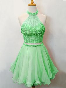 Chic Sleeveless Organza Knee Length Lace Up Vestidos de Damas in Green with Beading