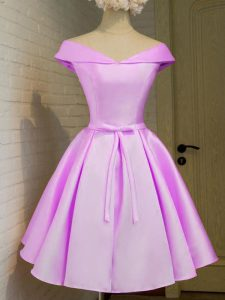 High Class Lilac Taffeta Lace Up Quinceanera Court Dresses Cap Sleeves Knee Length Belt