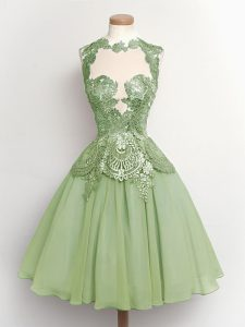 Admirable Green High-neck Lace Up Lace Quinceanera Court of Honor Dress Sleeveless