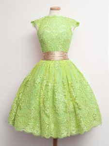 Hot Sale Lace High-neck Cap Sleeves Lace Up Belt Damas Dress in Yellow Green
