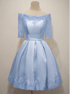 Off The Shoulder Half Sleeves Quinceanera Court of Honor Dress Knee Length Lace Light Blue Taffeta
