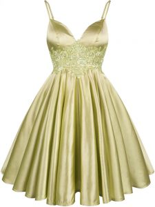 Olive Green Sleeveless Elastic Woven Satin Lace Up Quinceanera Dama Dress for Prom and Party and Wedding Party