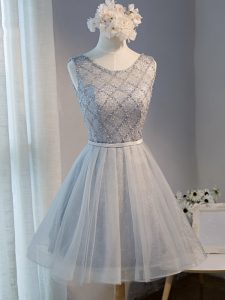 Grey Prom Dresses Prom and Party and Sweet 16 with Beading Scoop Sleeveless Lace Up