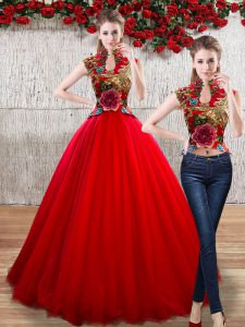 Red Sleeveless Appliques Floor Length 15th Birthday Dress
