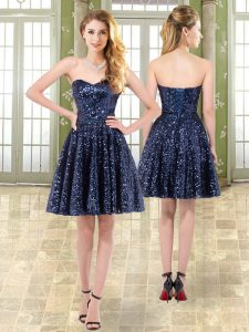 Mini Length Navy Blue Homecoming Dress Tulle and Sequined Sleeveless Beading