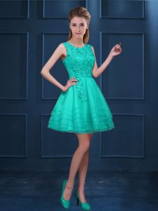 High End Turquoise A-line Lace and Ruffled Layers Dama Dress Zipper Tulle Sleeveless Knee Length