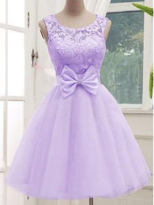 Lavender A-line Lace and Bowknot Vestidos de Damas Lace Up Tulle Sleeveless Knee Length