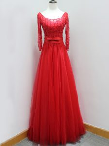 Vintage A-line Long Sleeves Red Prom Dress Brush Train Backless