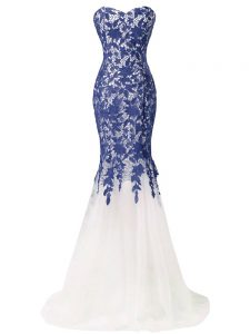 Fabulous Blue And White Prom Dress Tulle Brush Train Sleeveless Beading and Lace and Appliques
