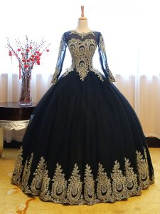 Extravagant Long Sleeves Lace Up Floor Length Appliques Sweet 16 Quinceanera Dress