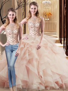 Artistic Sleeveless Brush Train Lace Up Beading and Ruffles Vestidos de Quinceanera