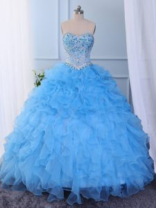 Exceptional Baby Blue Ball Gowns Organza Sweetheart Sleeveless Beading and Embroidery and Ruffled Layers Floor Length Lace Up Sweet 16 Dress