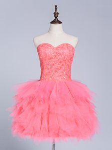 Tulle Sweetheart Sleeveless Lace Up Lace and Appliques Prom Dresses in Watermelon Red