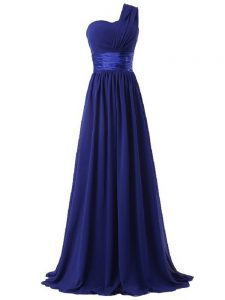 Cute Royal Blue Empire One Shoulder Sleeveless Chiffon Floor Length Lace Up Ruching Quinceanera Court of Honor Dress