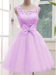 Dazzling Knee Length A-line Sleeveless Lilac Damas Dress Lace Up