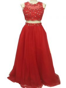 Red Sleeveless Beading and Appliques Zipper Dress for Prom